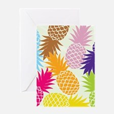 Colorful pineapples patterns Greeting Cards