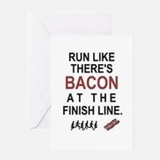 Will Run for Bacon Greeting Cards