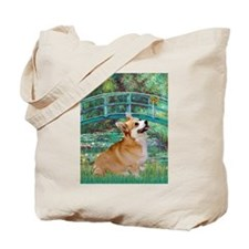 Monet's Lily Pond Bridge & Welsh Corgi Tote Bag