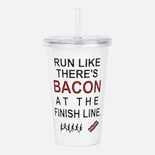 Will Run for Bacon Acrylic Double-wall Tumbler