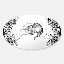 Cheshire Cat Swirls Sticker (Oval)