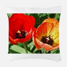 Red and Orange Tulip Woven Throw Pillow