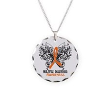 Multiple Sclerosis Awarenes Necklace Circle Charm