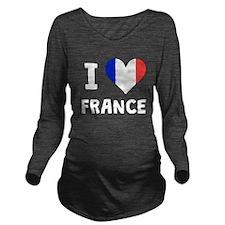 I Heart France Long Sleeve Maternity T-Shirt