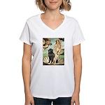 Venus & Newfoundland Women's V-Neck T-Shirt
