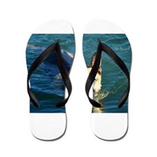swimming german shepperd Flip Flops