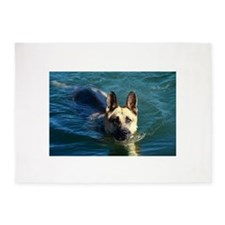 swimming german shepperd 5'x7'Area Rug