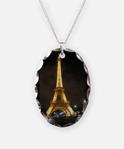 Eiffel Tower At Night In Paris Necklace