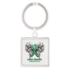 Liver Disease Awareness Square Keychain