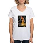 Fairies & Newfoundland Women's V-Neck T-Shirt