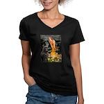 Fairies & Newfoundland Women's V-Neck Dark T-Shirt