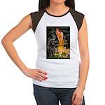 Fairies & Newfoundland Women's Cap Sleeve T-Shirt