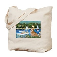 Monet's Sailboats & Welsh Corgi Tote Bag