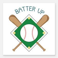 """Baseball Batter Square Car Magnet 3"""" x 3"""""""