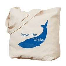 Save The Whales Blue Whale cause Tote Bag