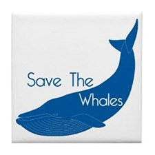 Save The Whales Blue Whale cause Tile Coaster