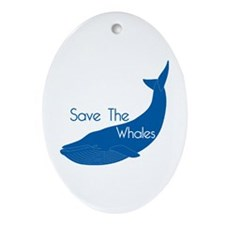 Save The Whales Blue Whale cause Oval Ornament
