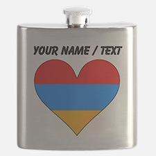Custom Armenia Flag Heart Flask