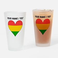 Custom Bolivia Flag Heart Drinking Glass