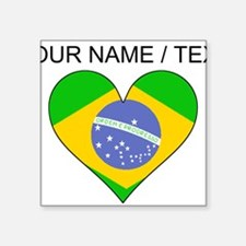 Custom Brazil Flag Heart Sticker