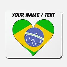 Custom Brazil Flag Heart Mousepad