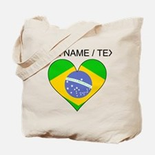 Custom Brazil Flag Heart Tote Bag