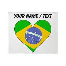 Custom Brazil Flag Heart Throw Blanket