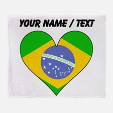 Custom Brazil Flag Heart Throw Blanket