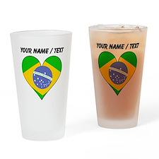 Custom Brazil Flag Heart Drinking Glass