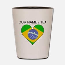 Custom Brazil Flag Heart Shot Glass