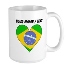 Custom Brazil Flag Heart Mugs