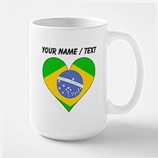 Custom Brazil Flag Heart Mugs