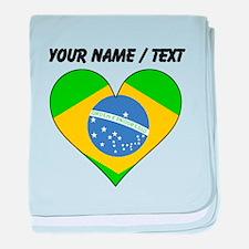 Custom Brazil Flag Heart baby blanket