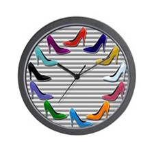 Colorful High Heel Shoes Wall Clock