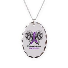 Fibromyalgia Awareness Necklace Oval Charm