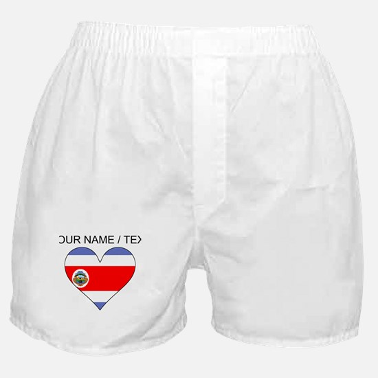 Custom Costa Rica Flag Heart Boxer Shorts