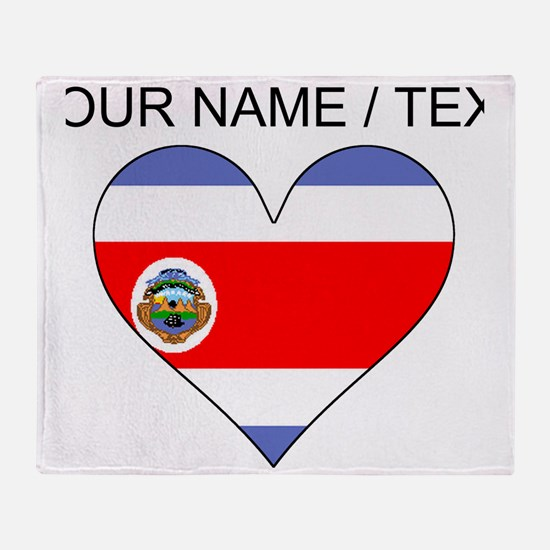 Custom Costa Rica Flag Heart Throw Blanket