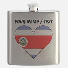 Custom Costa Rica Flag Heart Flask