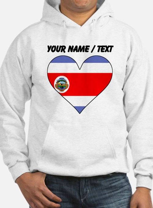 Custom Costa Rica Flag Heart Hoodie