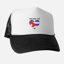 Custom Cuba Flag Heart Trucker Hat