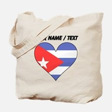 Custom Cuba Flag Heart Tote Bag