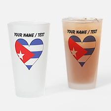 Custom Cuba Flag Heart Drinking Glass