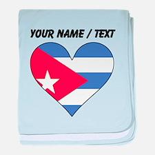 Custom Cuba Flag Heart baby blanket
