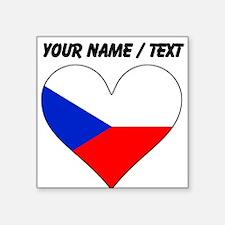 Custom Czech Republic Flag Heart Sticker