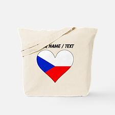 Custom Czech Republic Flag Heart Tote Bag