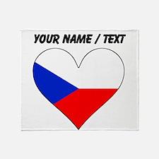 Custom Czech Republic Flag Heart Throw Blanket