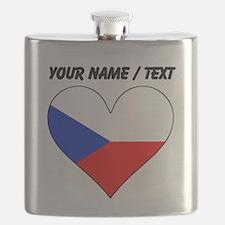 Custom Czech Republic Flag Heart Flask