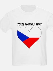 Custom Czech Republic Flag Heart T-Shirt