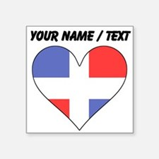 Custom Dominican Republic Flag Heart Sticker