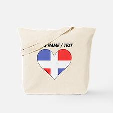 Custom Dominican Republic Flag Heart Tote Bag